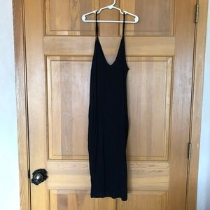 Black cami slip dress midi length